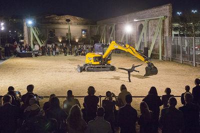 Beau Geste performance DzExceptional Transport: duet for a dancer and an excavatordz at SCAD Museum of Art, Savannah.