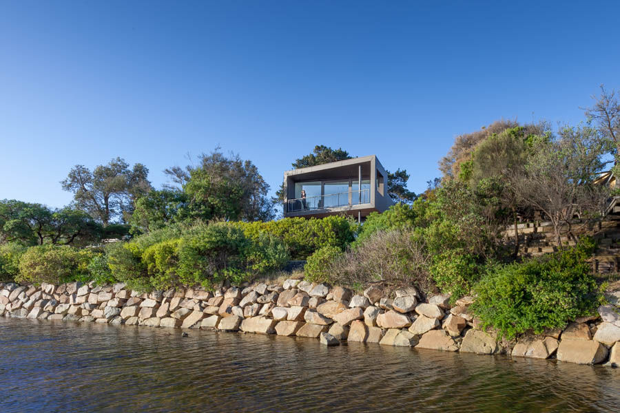 Elevating the home as opposed to excavating offers built-in protection against flooding from the riverbank.