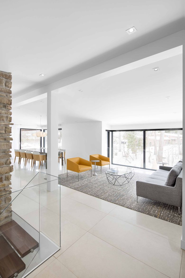 Carefully furnished living room at a midcentury renovation