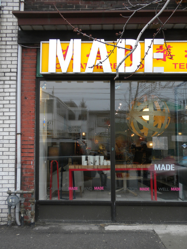 Located on Dundas Street West, Made opened in 2005 with Shaun Moore and Julie Nicholson at its helm. Setting up shop in a former Chinese herb dispensary, the owners opted to leave the original signage in place and overlay the colorful design with their ow