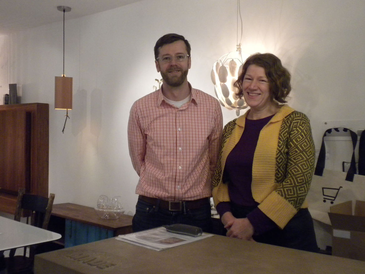 Moore and Nicholson man the shop. Before opening Made, Moore, a trained furniture designer, worked in another design shop and Nicholson, an artist whose CV includes managing galleries and curating exhibitions in addition to managing design stores, was fre