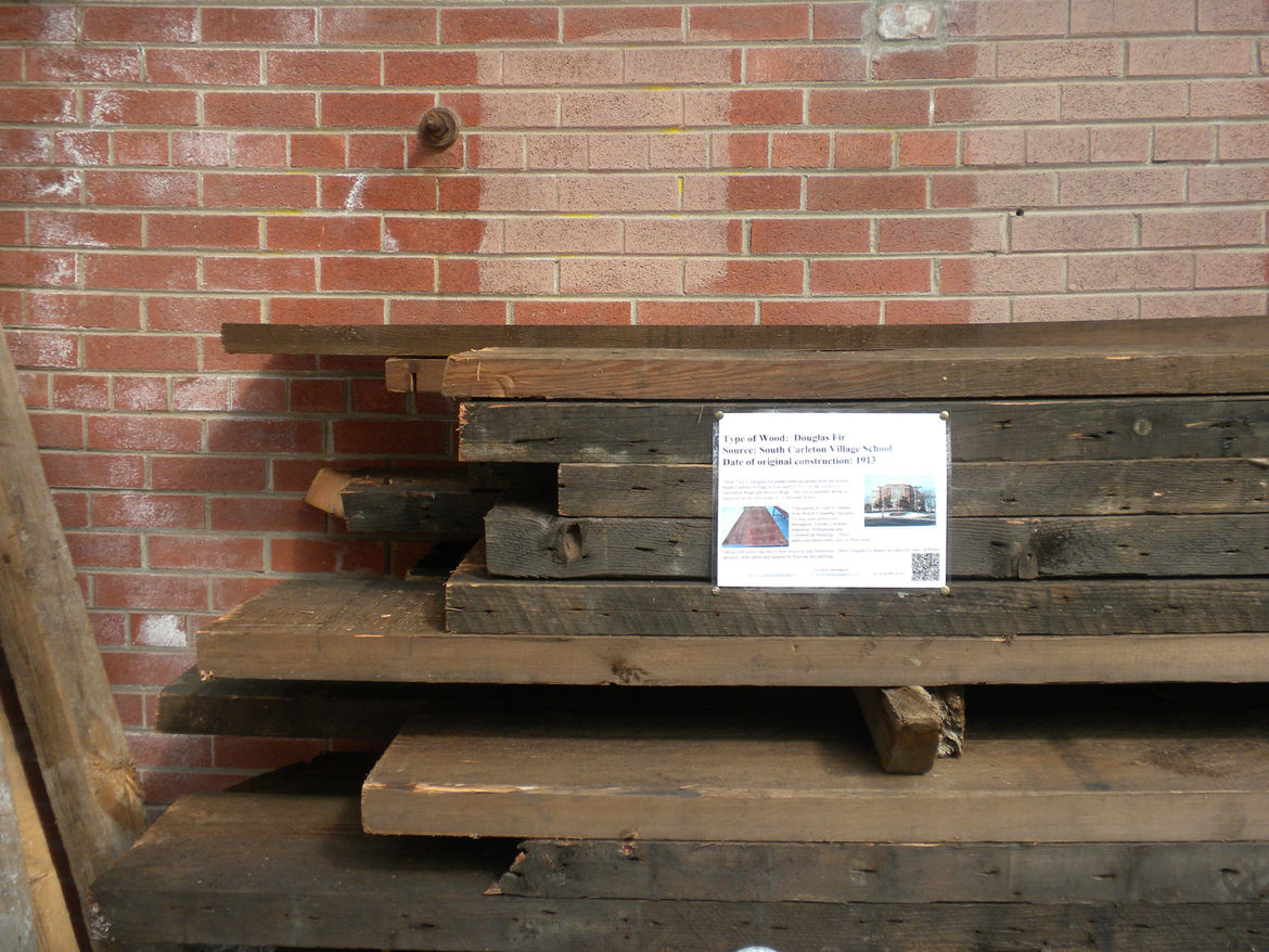 In another area, a pile of Douglas fir salvaged from the South Carleton Village School, built in 1913, lies waiting to find a second life in a new building.