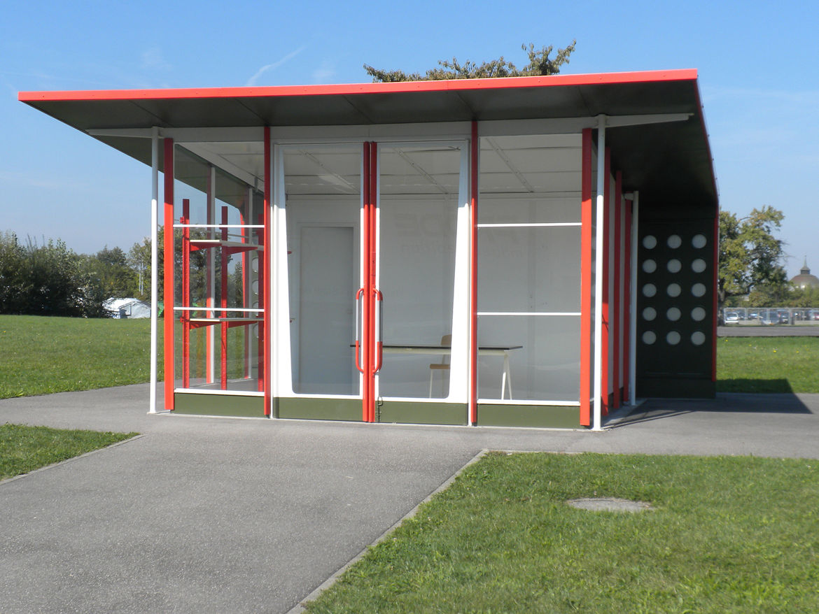 "Next to Fuller's Dome is another building that is not original to the Vitra Campus. In the 1950s, <a href=""http://www.dwell.com/people/jean-prouve.html"">Jean Prouvé</a> designed a series of gas stations that were built in France. This one was constructed"