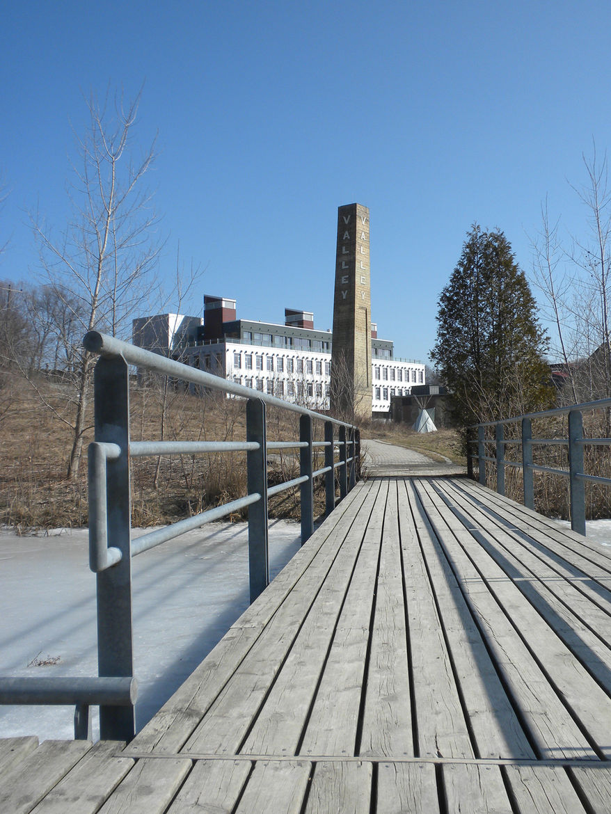 Several new bridges let visitors traverse the ponds behind the Brick Works buildings. While the water bodies are not open for ice skating, an outdoor skating rink will be set up in one of the pavilions for use during the winter.
