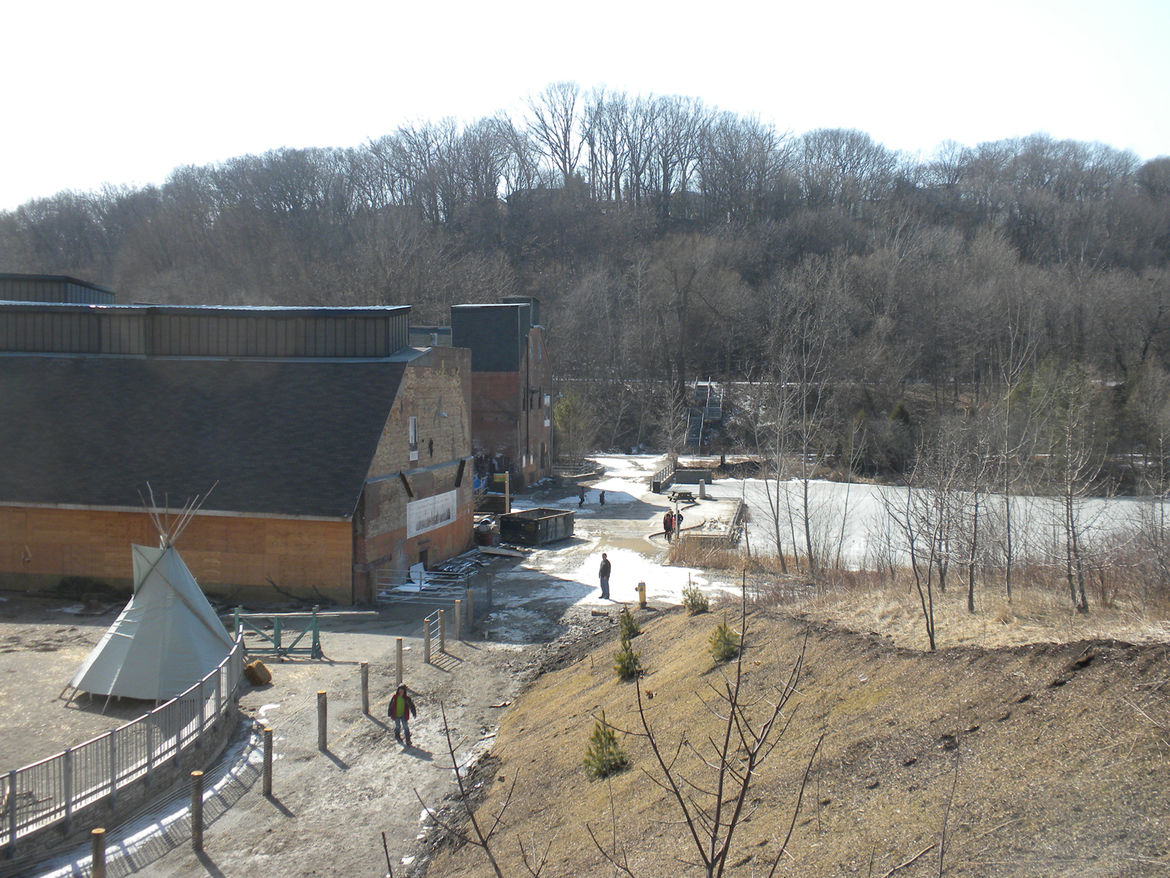 The Chimney Court was closed to public access during our visit and was instead inhabited by a tepee, wood-burning fires, and a group of students on the March break from school and attending one of the Evergreen Brick Works camps.