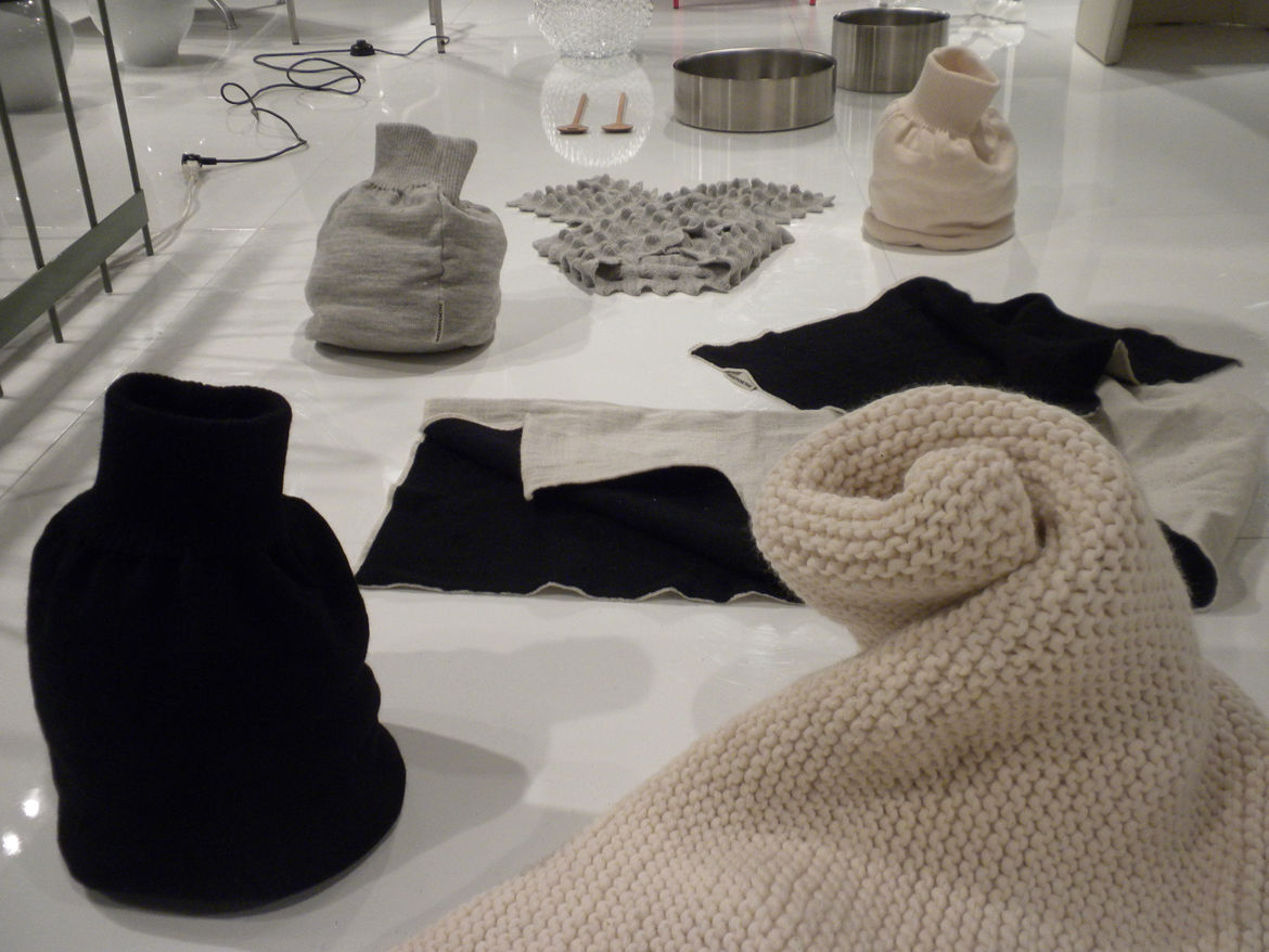 "On the softer side of things were Ulrika Mårtensson and Margot Barolo's textile designs for <a href=""http://knitsbythemetre.com/home.html"">Knits by the Metre</a>, which the duo founded in 2006. Shown here are their Wobbling Wool Shawl, Muddburk knitted bo"