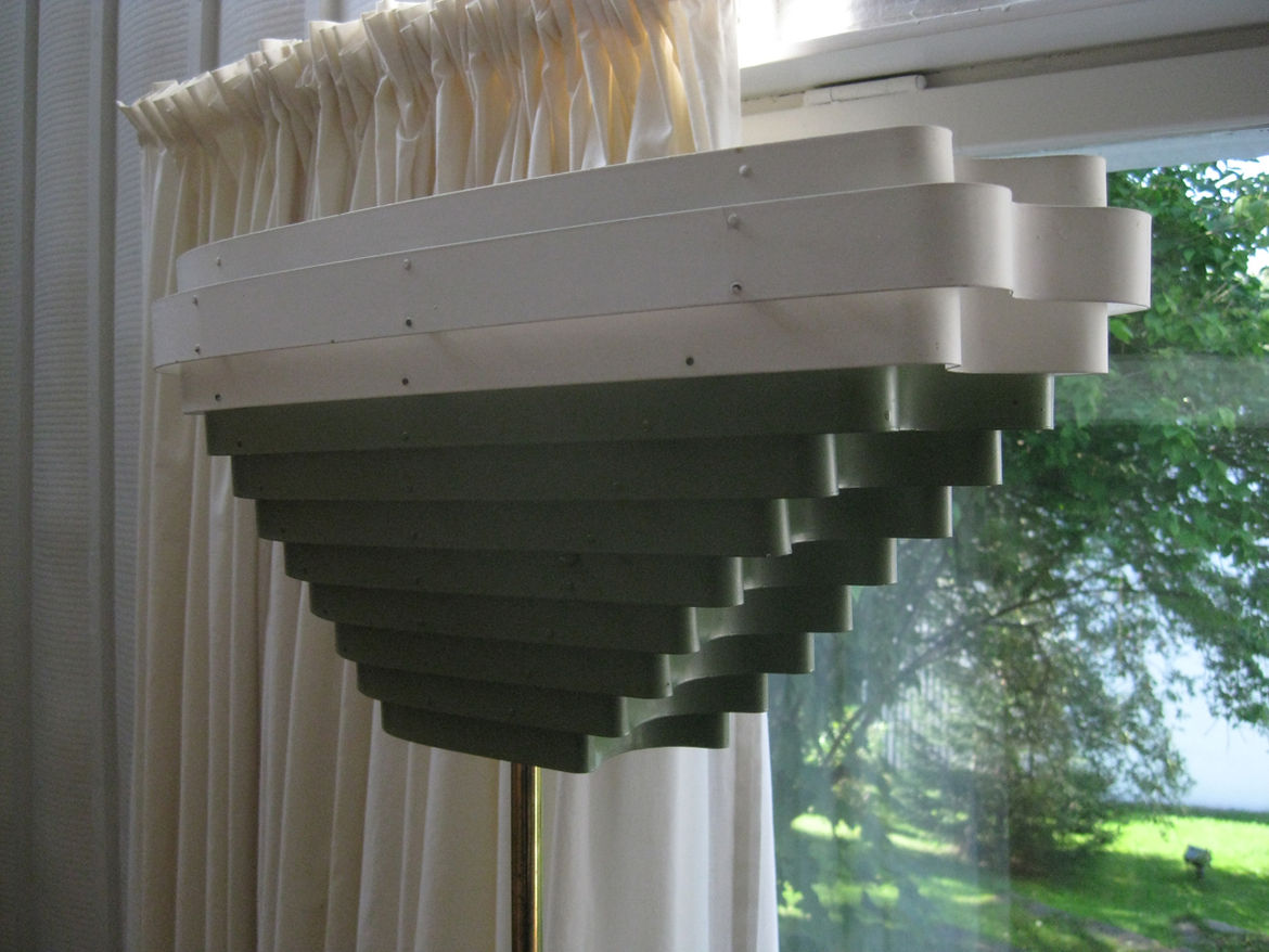 """A multi-hued variation of the """"Enkelinsiipi"""" (or Angel's Wing) design (A805). Aalto's use of color is more often limited to white, black, or the shades afforded by wood."""