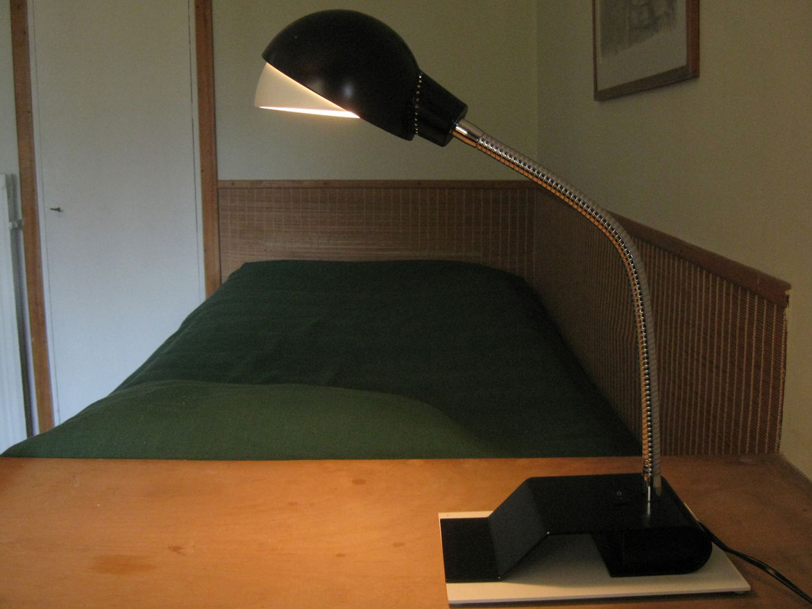 This light in an upstairs bedroom (A703) was originally developed in 1929. This is a later version sold through Artek.