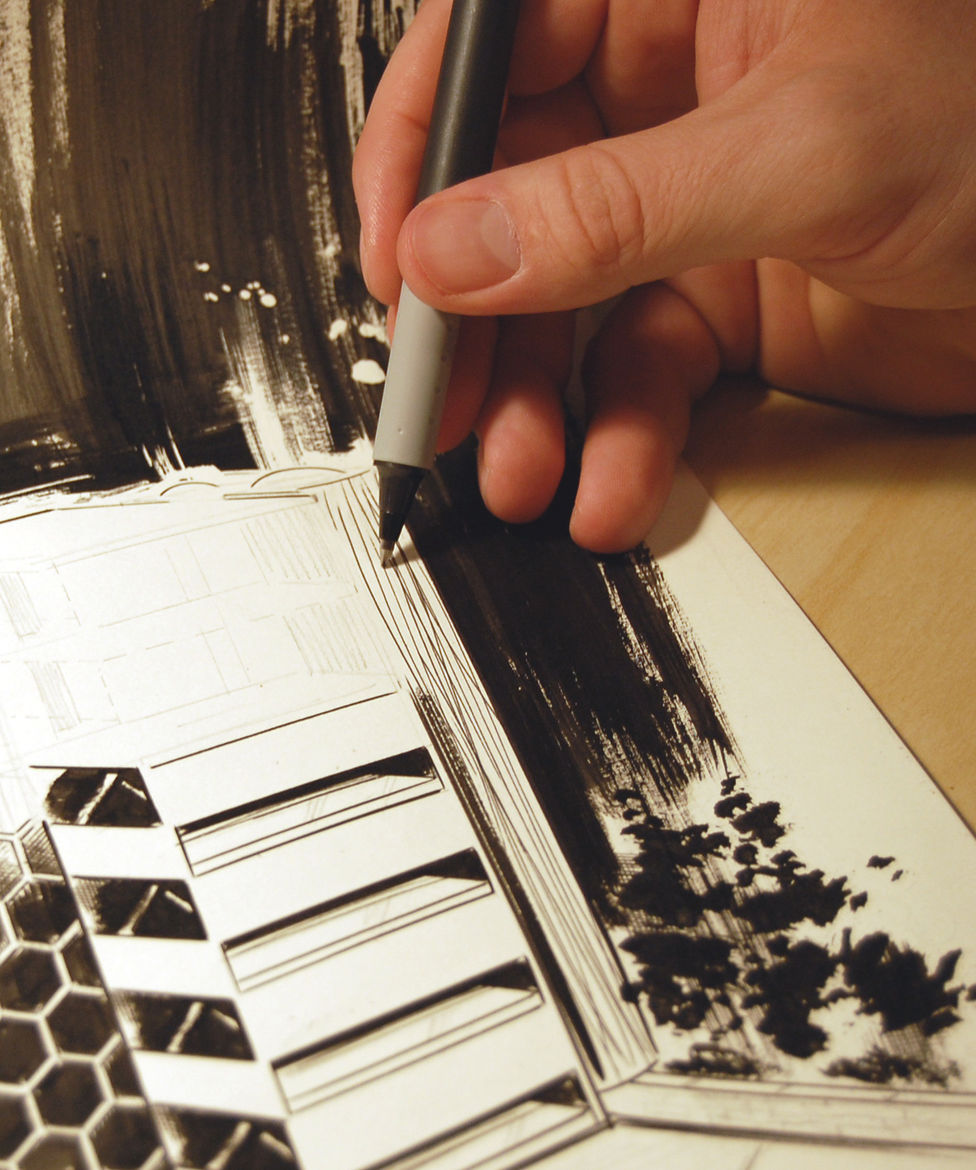 """""""Ninety-five percent of everything I do is done with a brush,"""" Gardner says. """"But sometimes little details call for a pen. I use whatever can accomplish the task."""""""