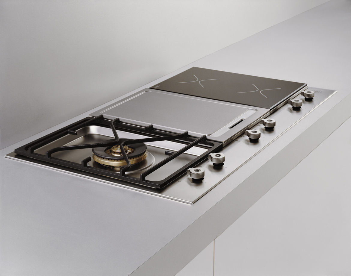 Also new this spring is the segmented cooktop, which features one cutout (so it's easy to clean) but with up to three different panels (like the gas range, griddle, and induction cooktop).