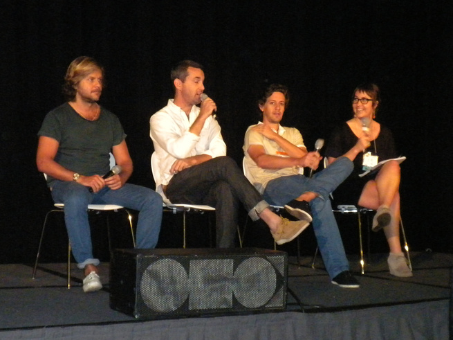 Fernando Gerscovich, Kevin Carney, Juan Gerscovich, and Jordan Kushins on stage at Dwell on Design.
