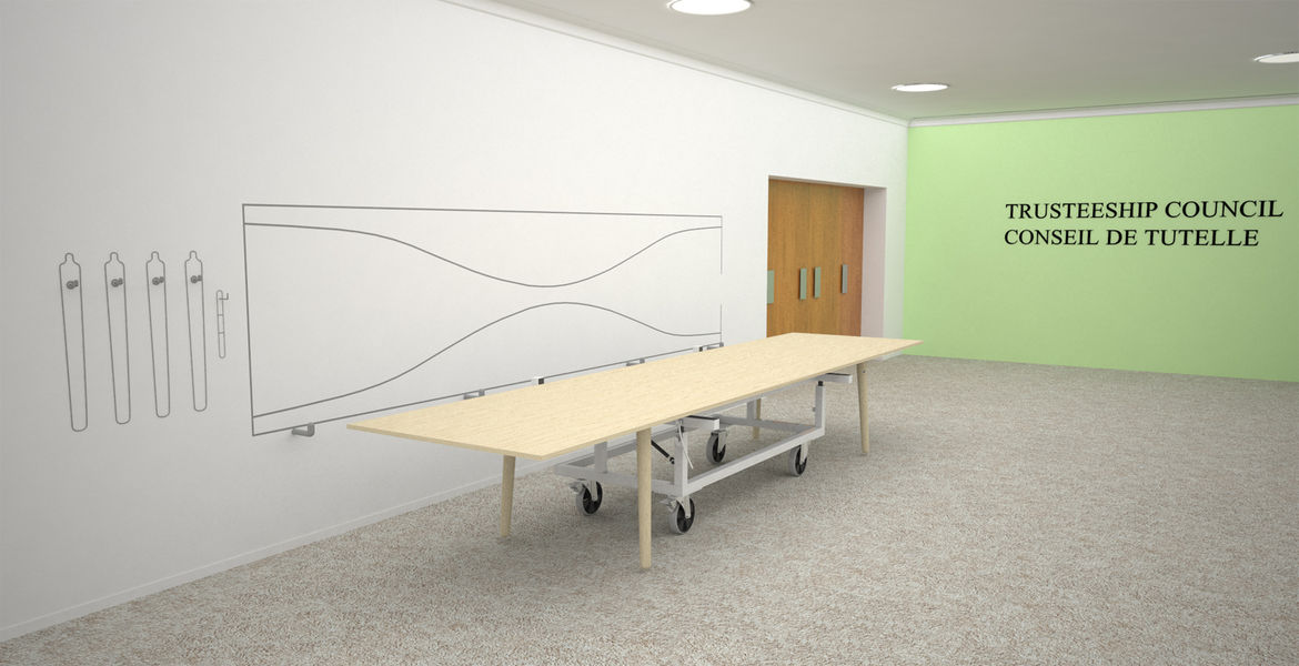 "<a href=""http://www.flindtdesign.dk/"">Christian Flindt</a> was another designer invited to participate in the competition. His design for a meeting table that can quickly be moved out of the way was quite appealing (save for the strange metal contraption"