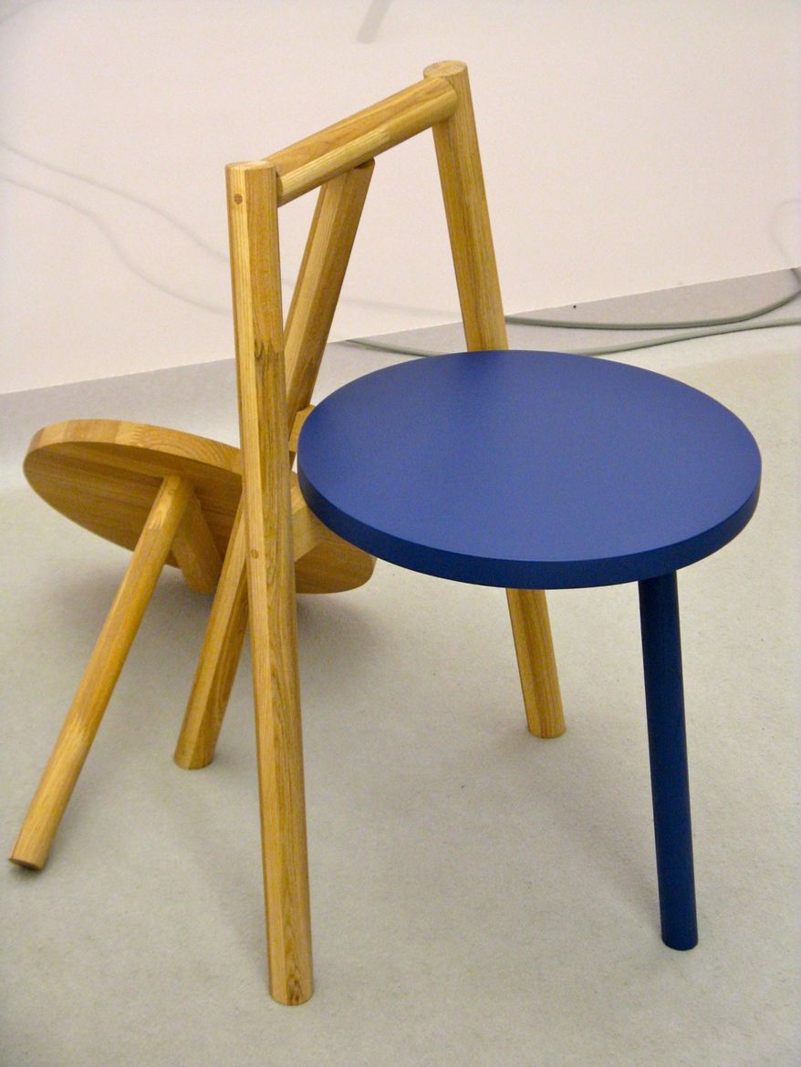 """The seat and front leg of this Japanese ash chair by Atsushi Suzuki screw off and can be replaced with seats and legs in other colors. The chairs are part of Osaka woodwork and design company <a href=""""http://www.laugh-woodwork.com""""> laugh's</a> Laugh's ne"""