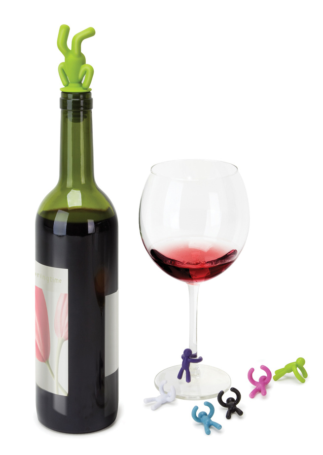 The new Drink Buddy wine topper and wine glass identifiers from Umbra.