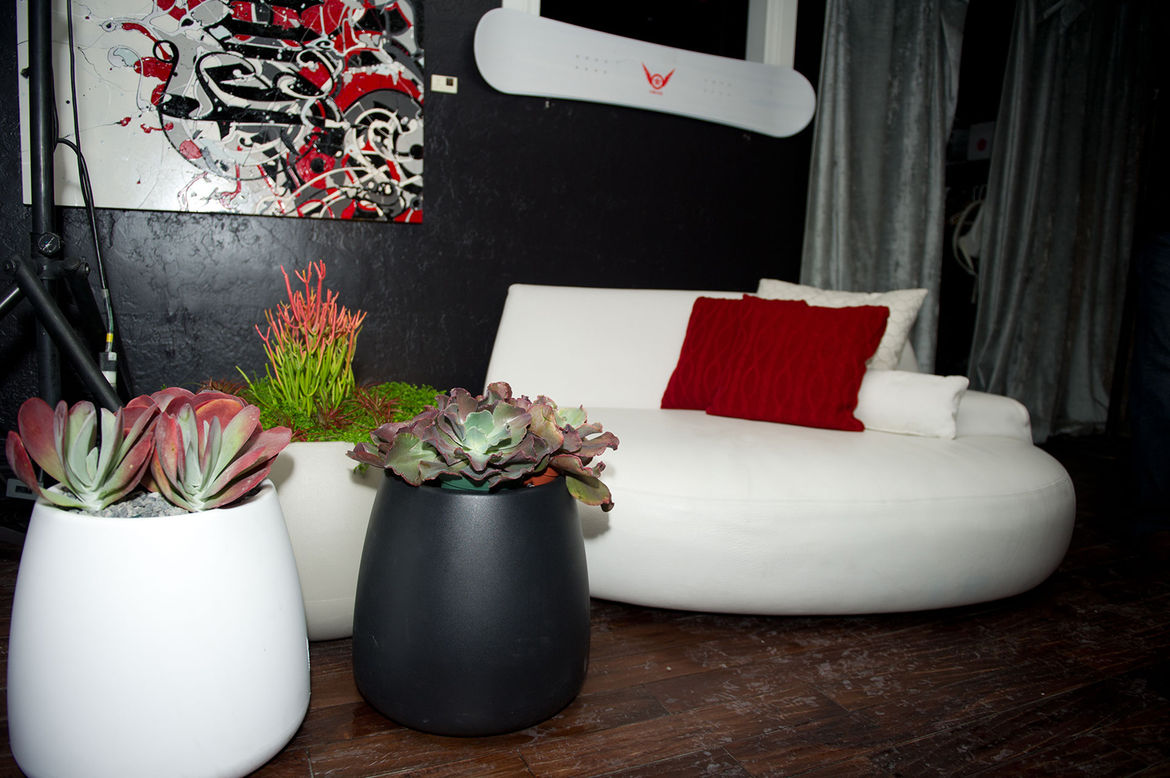 Mast nestled sculptural succulents in planters from Gandia Blasco, which held court next to one of the most lolled upon pieces of furniture in the entire lounge, the Big Bug from Poliform.