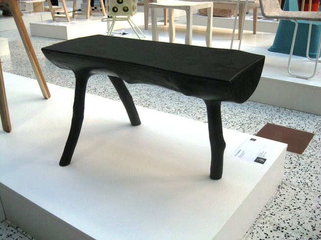 SAUNA BENCH by EERO AARNIO  The master of space-age pop plastics takes a turn for the natural with this sauna bench made from Finnish fur. It's intended to be used outdoors and is treated with black Pinotex timber oil. Aarnio doesn't intend for the chair