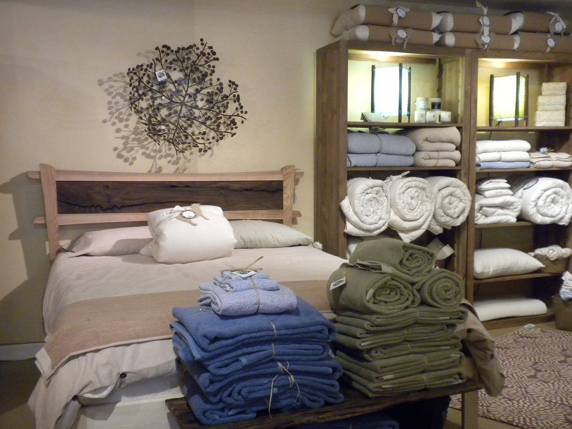 """At the shop, she also sells beds made from sustainably harvested or reclaimed wood along with <a href=""""http://www.nativeorganic.com/home.htm"""">Native Organic Cotton</a> towels and bedding, mattresses by <a href=""""http://www.savvyrest.com/"""">Savvyrest</a>, an"""