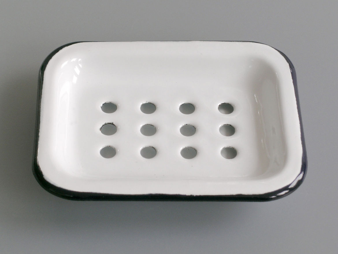 """<b>Enamel Soap Dish</b> """"We love the simplicity of this item. A real classic and very practical with the separate drip tray."""" Photo courtesy of Labour and Wait."""