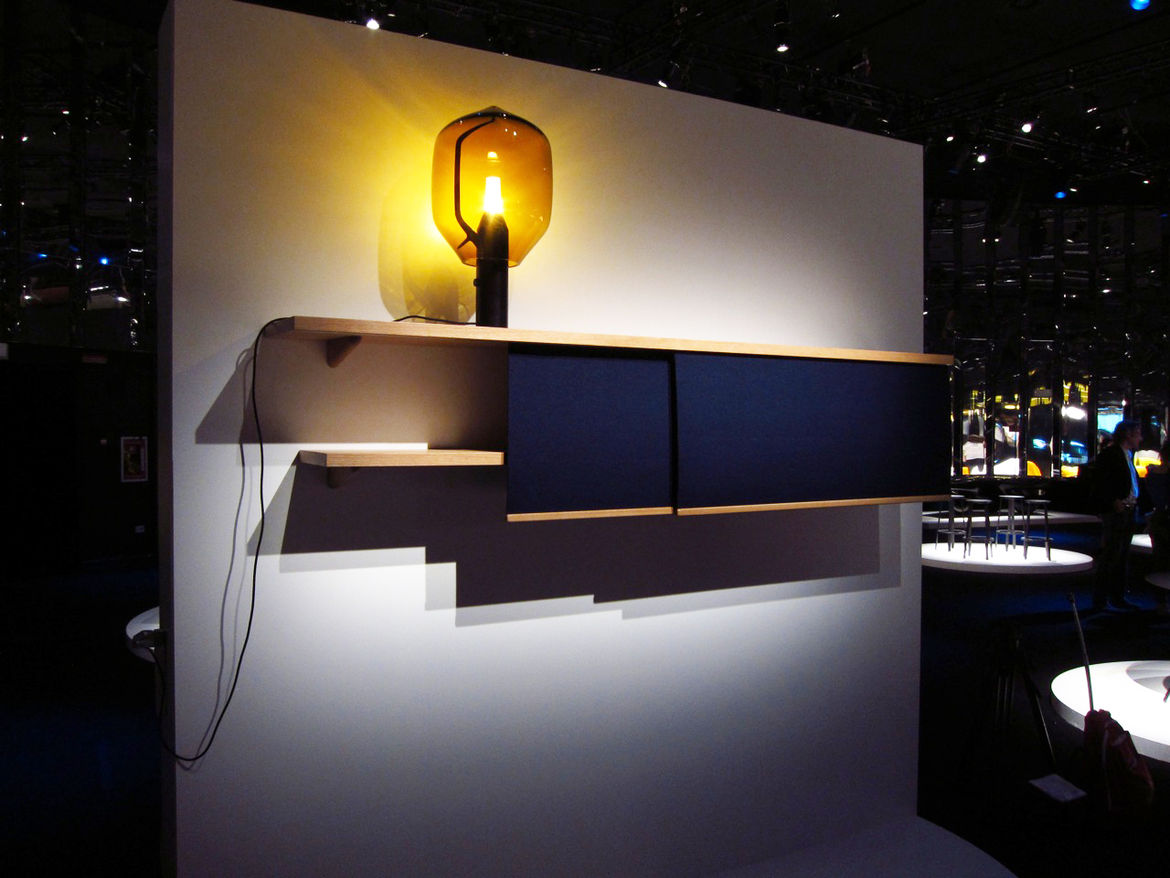 Les frères Bouroullec debuted a new set of shelves with sliding felt panels. Last year's lighthouse lamp (one of our all-time favorites) helped set the scene.