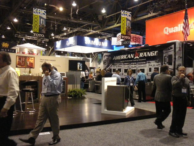 """The show floor was bustling with exhibitors and attendees. While many trucked in elaborate booths and display, <a href=""""http://www.americanrange.com/"""">American Range</a> drove its traveling showroom bus right onto the floor and invited people aboard to vi"""