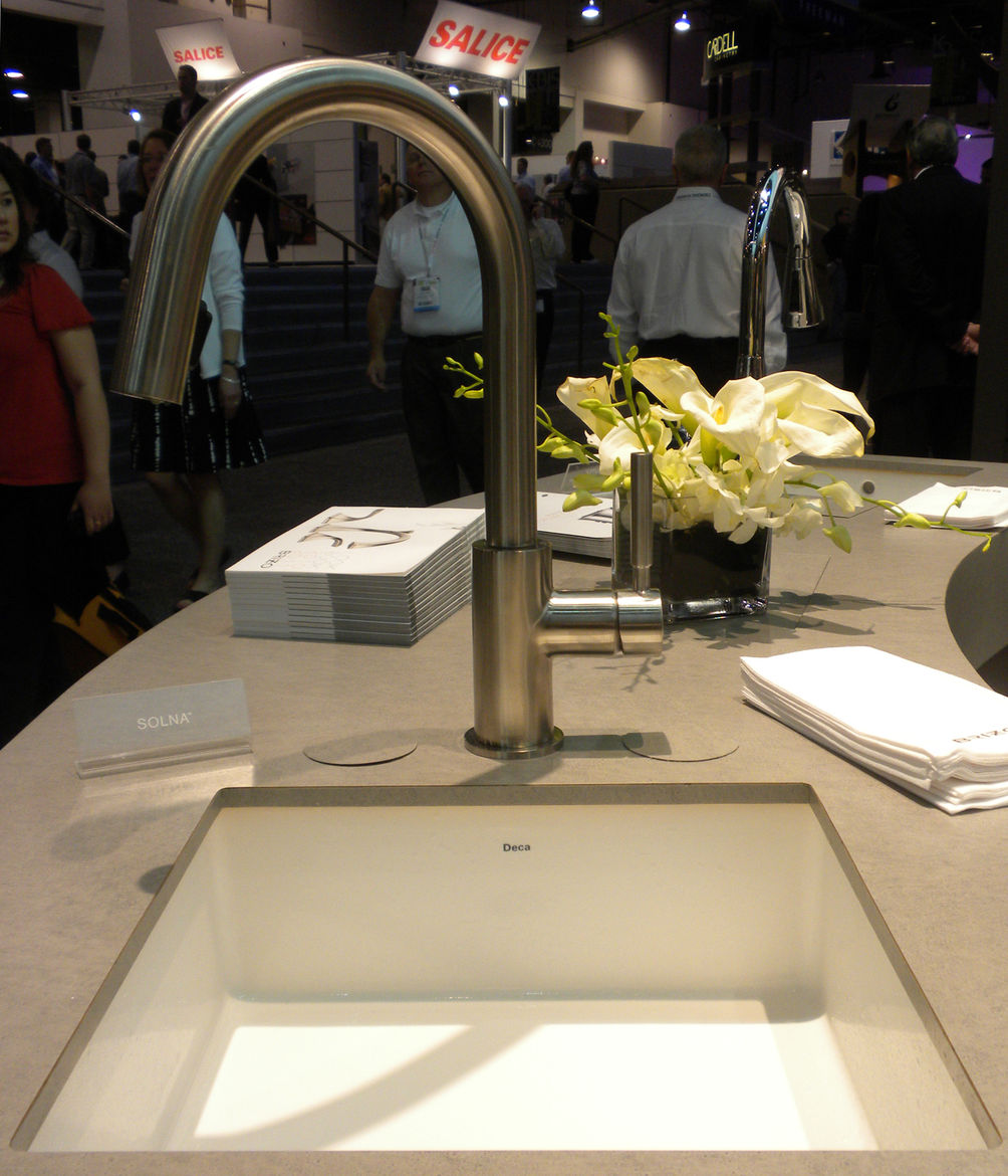 "<a href=""http://www.brizo.com/"">Brizo</a> showed its Solna kitchen faucet that featured a hidden pull-down faucet head. The company's swan-inspired Vuelo kitchen collection and art deco Charlotte bath collection was also on view and will be available this"