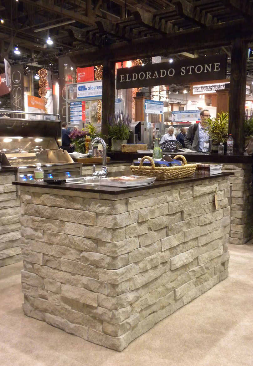 "<a href=""http://www.eldoradostone.com/flashsite/"">El Dorado Stone</a> was again at the show, displaying its outdoor kitchen. The company makes, among other products, modular concrete cabinet boxes that can be custom arranged for a specific space. Bricks a"