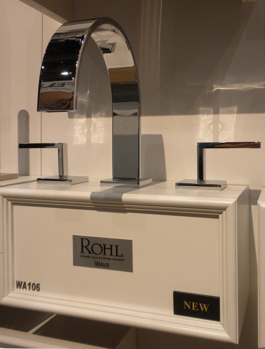 """<a href=""""http://www.rohlhome.com/"""">Rohl</a> displayed its new Wave line of bathroom faucets, which includes an outdoor showered."""