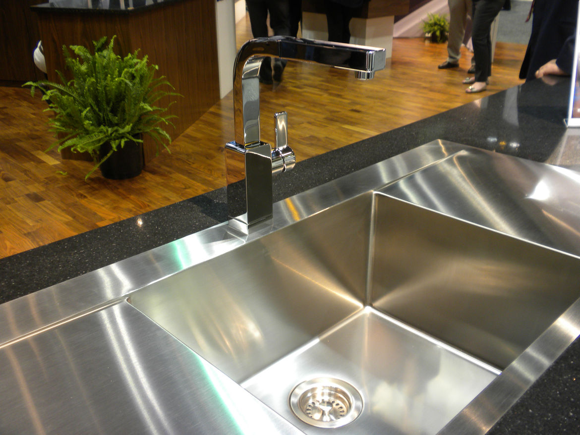 """Another highlight of <a href=""""http://www.blancoamerica.com/home.php"""">Blanco</a>'s booth was this handcrafted sink and streamlined pull-out faucet."""