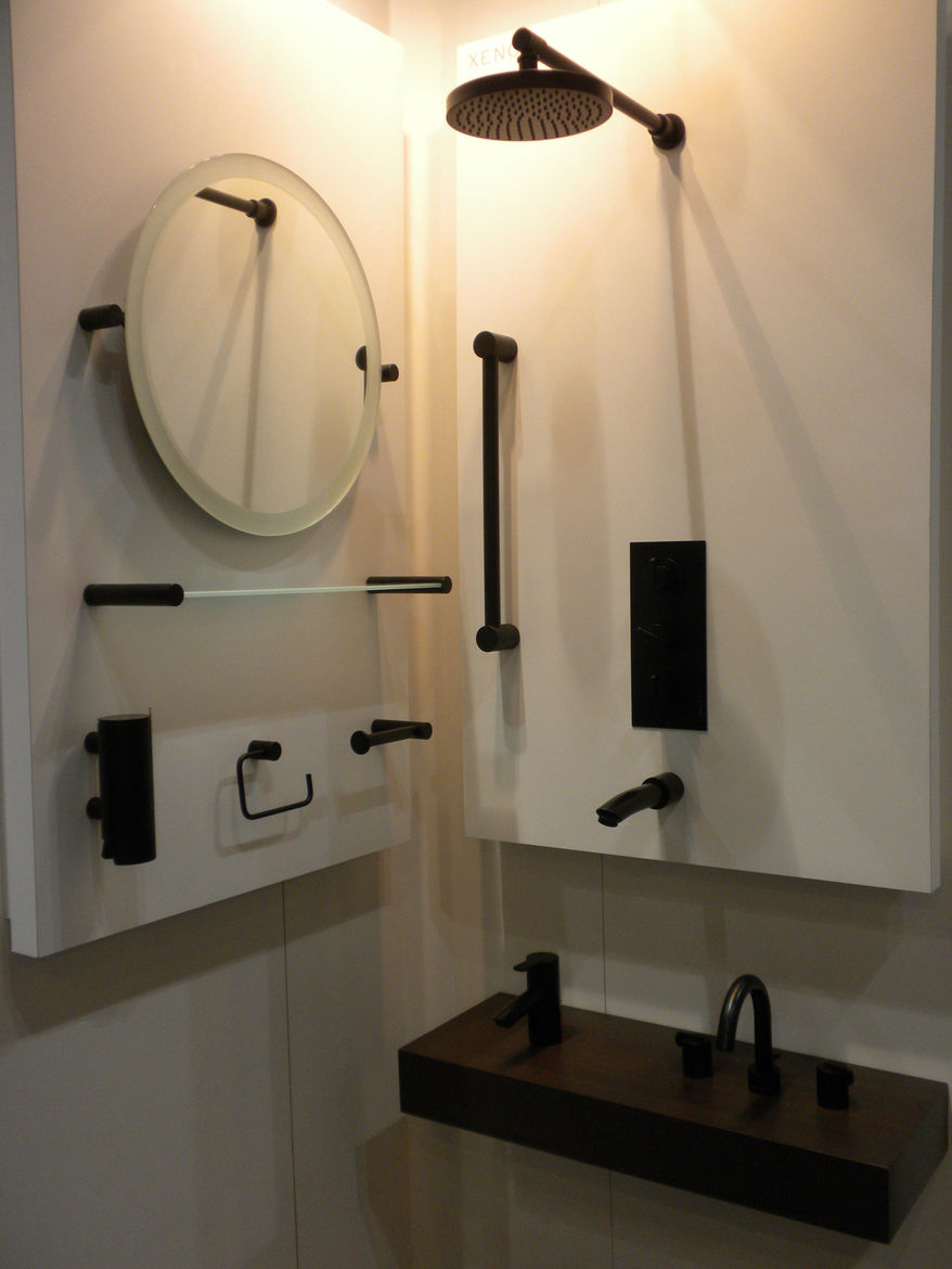 """The all-black Xenon bathroom collection by <a href=""""http://www.samuel-heath.com/"""">Samuel Heath</a> stopped many a passerby."""