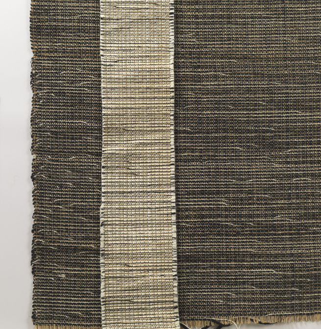"""In the early 1950s, Knoll hired Evelyn Hill Anselevicius to create a series of handwoven textiles, including this fabric titled H910. """"What's interesting about this one is that it's made of wool, plastic, and jute,"""" Makovsky says. """"She was innovative, doi"""