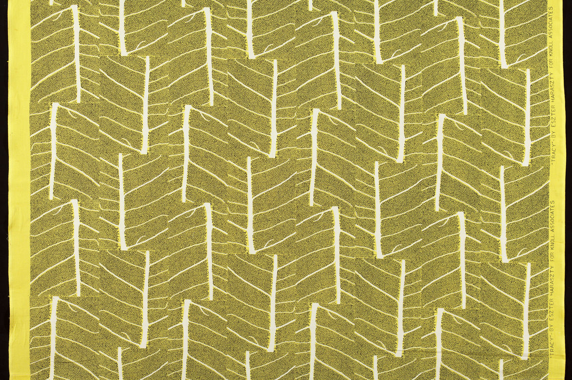 """This cotton, screen-printed textile by Eszter Haraszty dubbed Tracy was introduced in 1952. When the curatorial team began its research, the Knoll archives only went back to 1951. """"We had to do a lot of digging,"""" Makovsky says. """"We reached out to ex-Knoll"""