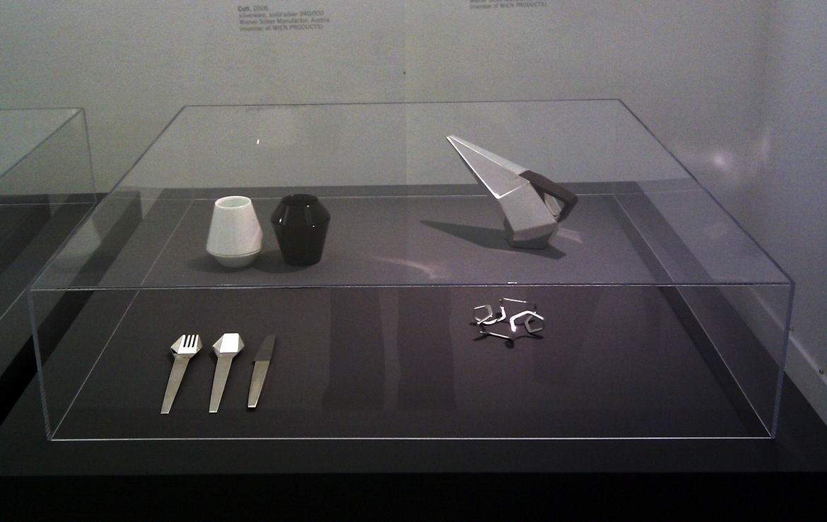 """Feichtner's angular teapot, bracelet, and cutlery design called """"Cutt.""""<br /><br /><p><em><strong>Don't miss a word of Dwell! Download our </strong></em><a href=""""http://itunes.apple.com/us/app/dwell/id411793747?mt=8""""><em><strong> FREE app from iTunes</str"""