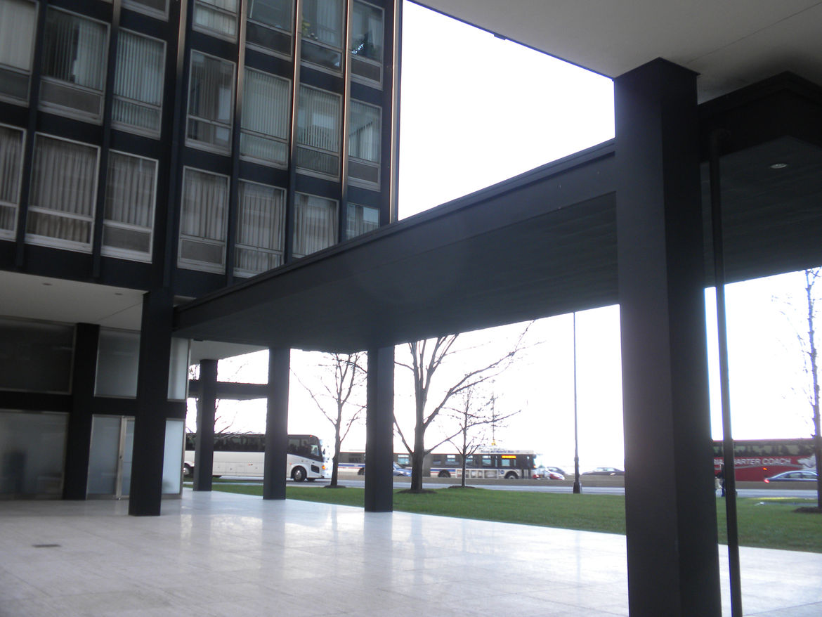 The view from the west side of the courtyard near the 860 tower, looking back toward the 880 building, Lake Shore Drive, and Lake Michigan.