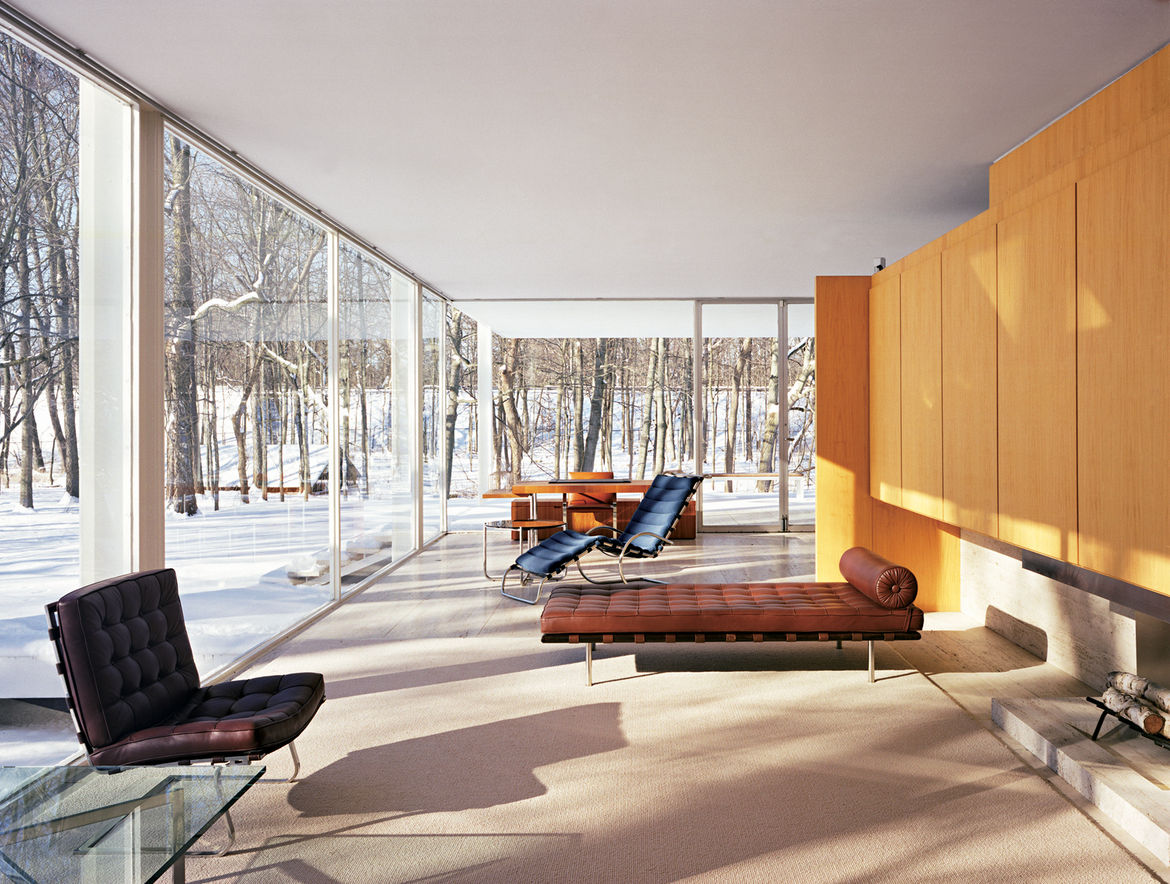 Here's a view of the Farnsworth House's interior, all clean lines and classic modernist furniture. Pretty perfect geometry if you ask me. Photo by Jason Schmidt.