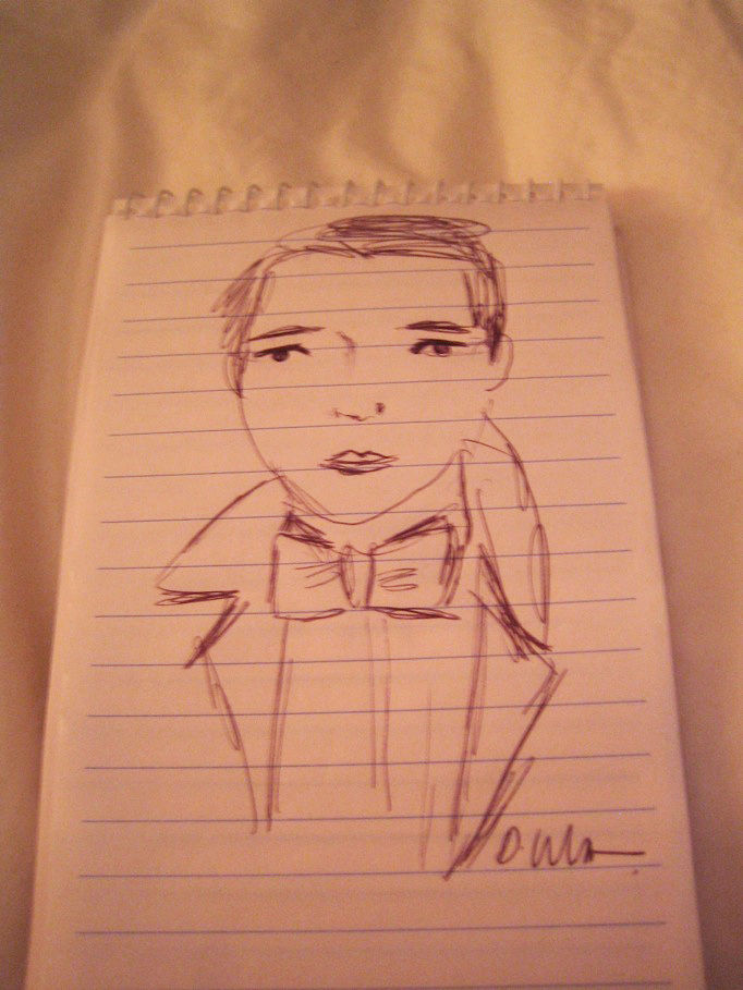 I finished my day back at SCP for a quick chat with Donna Wilson, who was as charming as can be. But better than anything I scrawled in my notebook from our chat was this drawing she made of me. The likeness is so-so (I'm 30, not 13), but the bow tie is s