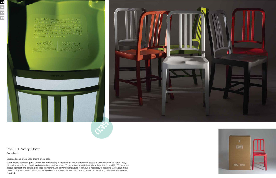 """Emeco recently collaborated with the Coca-Cola Company to produce the 111 Navy Chair. Each chair is made with the recycled material from 111 plastic bottles. Watch our <a href=""""http://www.dwell.com/slideshows/Emecos-111-Navy-Chair.html"""">slideshow</a> from"""