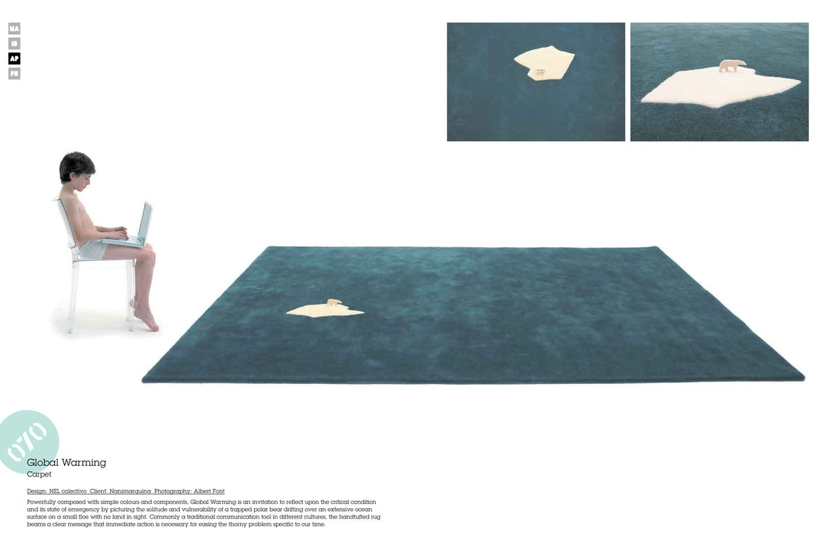 NEL colectivo's Global Warming carpet Nanimarquina is simple yet stunning. It's singular iceberg among a see of blue also strikes a strong sustainability cord.