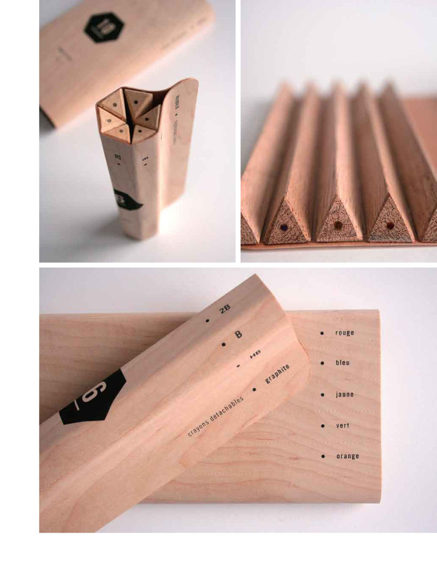Maude Bussières's pencil packaging concept keeps extra materials to a minimum. The triangular pencils fold together in tight formation to be displayed in stores as is and then tear apart along the perforations when you're ready to use one.