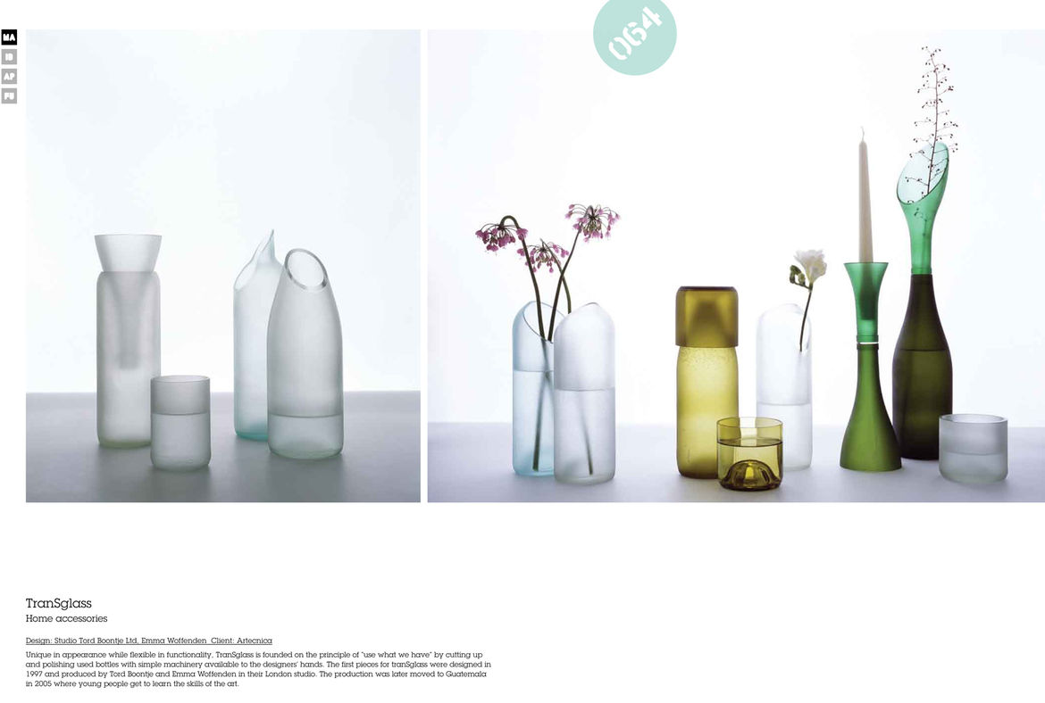 Tord Boontje and Emma Woffenden worked with Artecnica to create these beautiful TranSglass vases from recycled wine bottles. The vases are made in Guatemala where young people are taught the skills necessary to make the pieces.