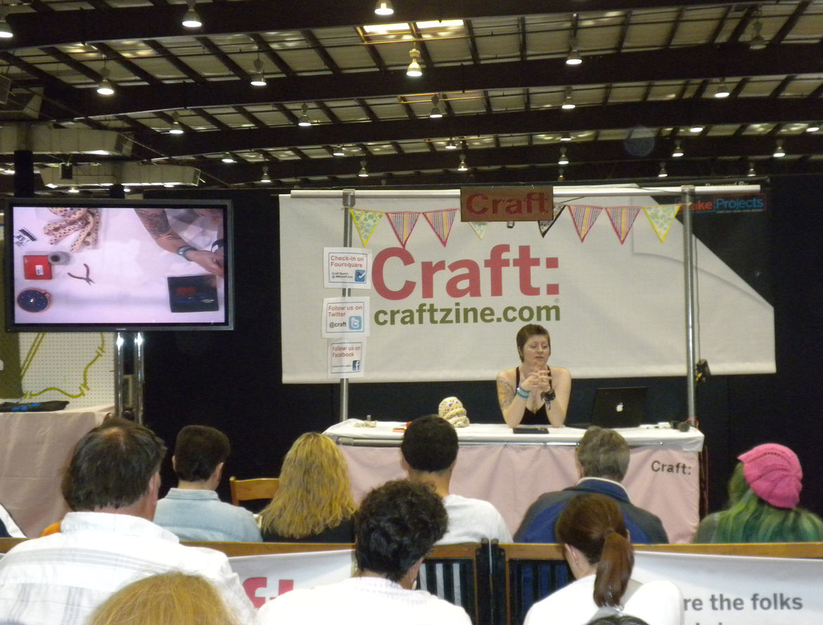 """Throughout Saturday and Sunday, <i>Make</i> and its sister publication <a href=""""http://craftzine.com/""""><i>Craft</i></a> hosted demonstrations. Though much of the festival featured technology-based projects, there was a large area dedicated to fabrics, clo"""
