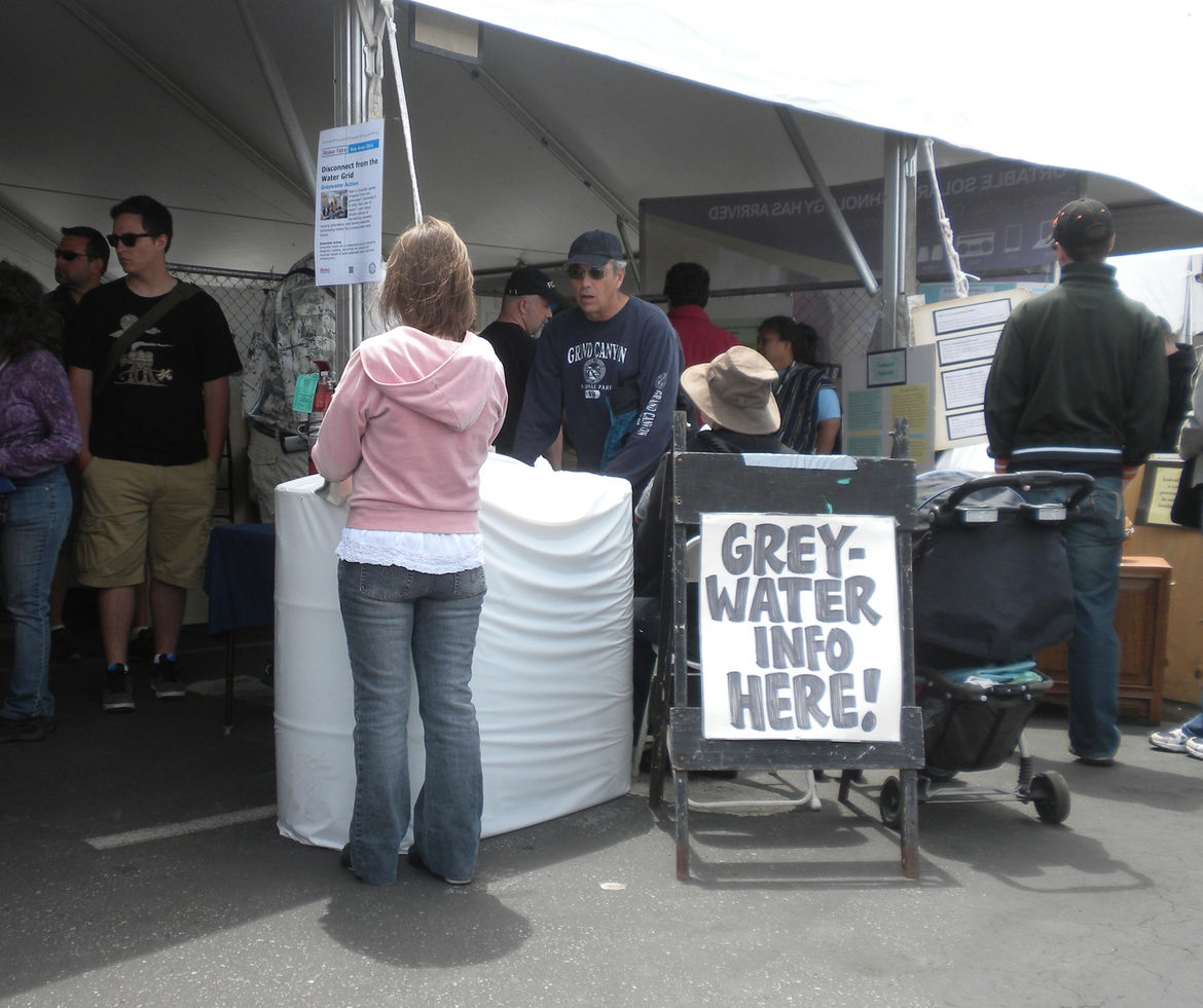 "The Homegrown Village was one of the outside themed areas. <a href=""http://greywateraction.org/"">Greywater Action</a> was on hand helping people understand water reuse."