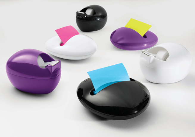 The full range of 3M's Pebble Collection by Karim: the Post-It Dispenser and Scotch Dispenser each in white, black, and purple.