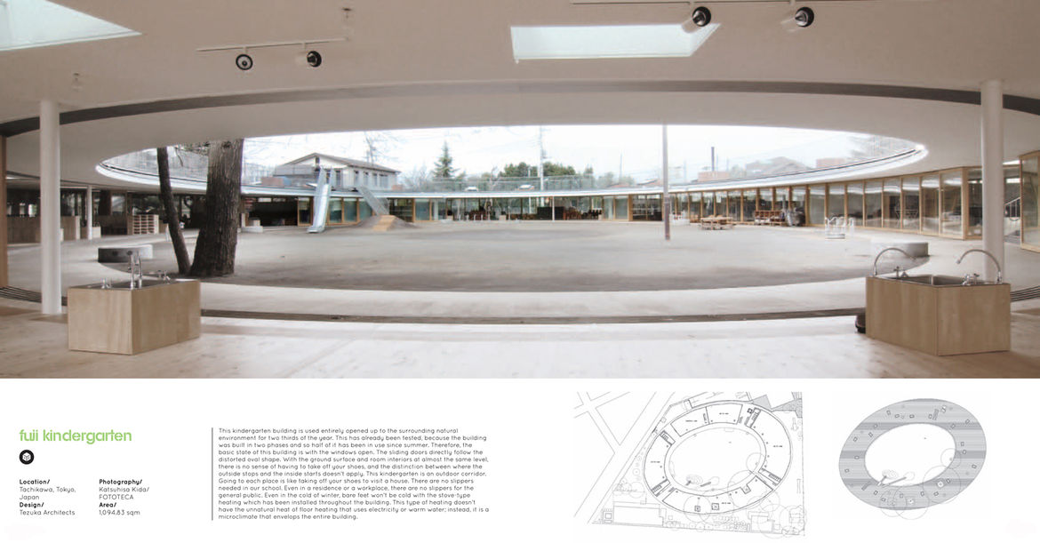 One of the most elegant projects in <i>Play!</i> is the Fuji Kindergarten in Tokyo designed by Tezuka Architects. The inside and outside completely dissolve into one another when the sliding glass doors are open (which they are for two thirds of the year)