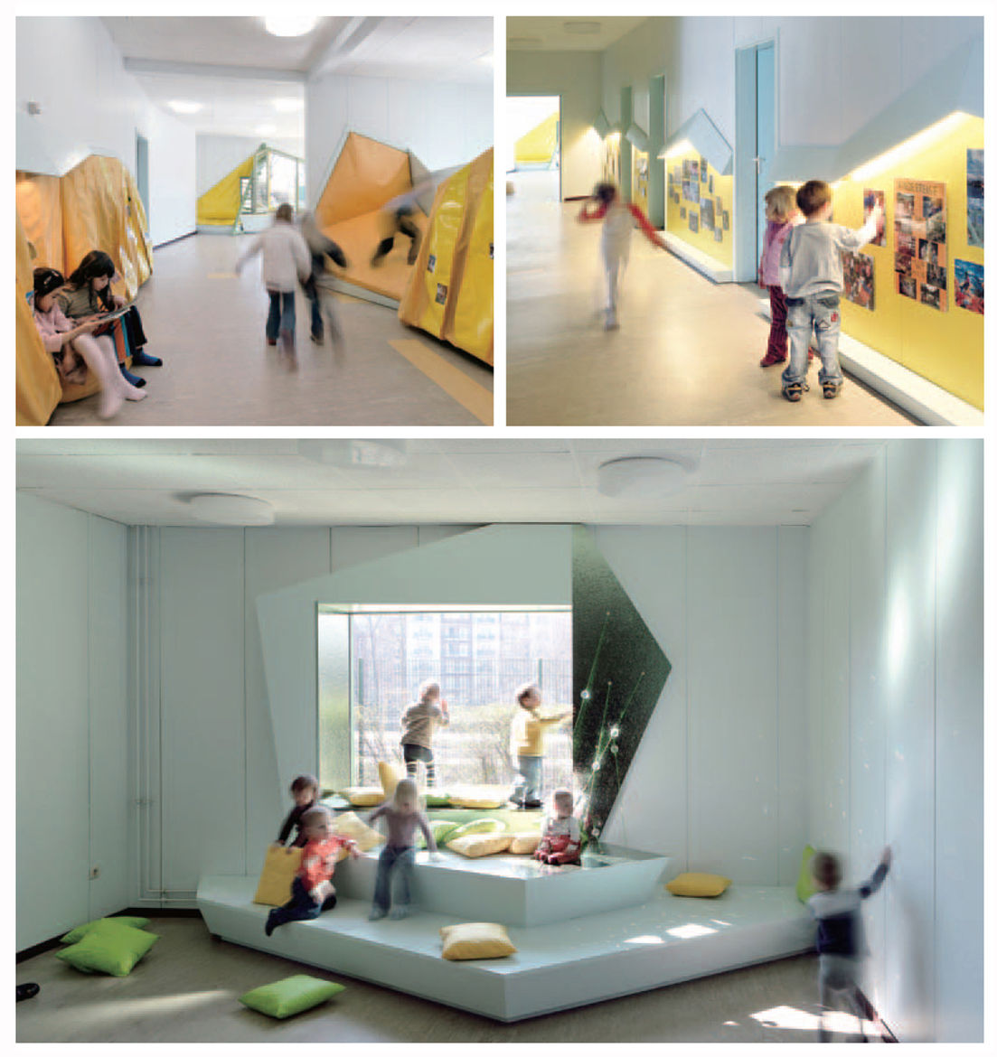 The climbing structures' soft yellow padding and oak framing continue on the inside of the Tuka-Tuka-Land kindergarten creating interactive spaces and few straight walls.