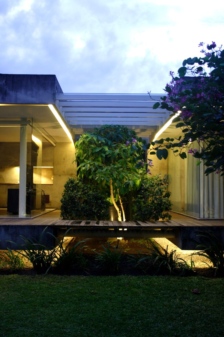 """A wider view of the bridge that """"will strengthen the floating concept of this house,"""" according to Wibowo."""
