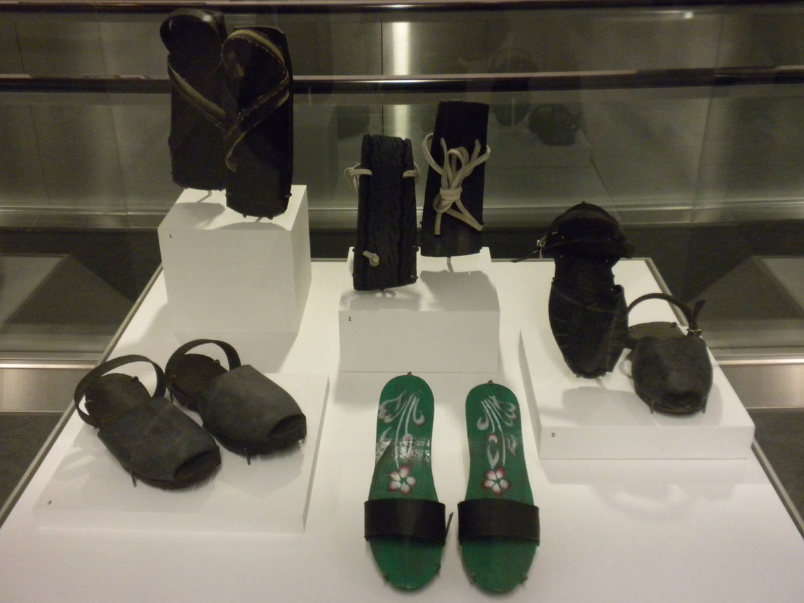 Having recently read Christopher McDougall's <i>Born to Run</i> (which, among others, describes the Mexican tribe of super-runners called the Tarahumara) and being a runner myself, this display case of minimalist sandals fashioned out of rubber caught my