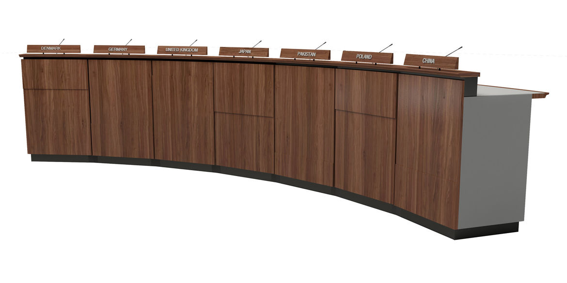 Though many elements of these speaker tables are nonnegotiable, Petersen's panel details add a nice touch.