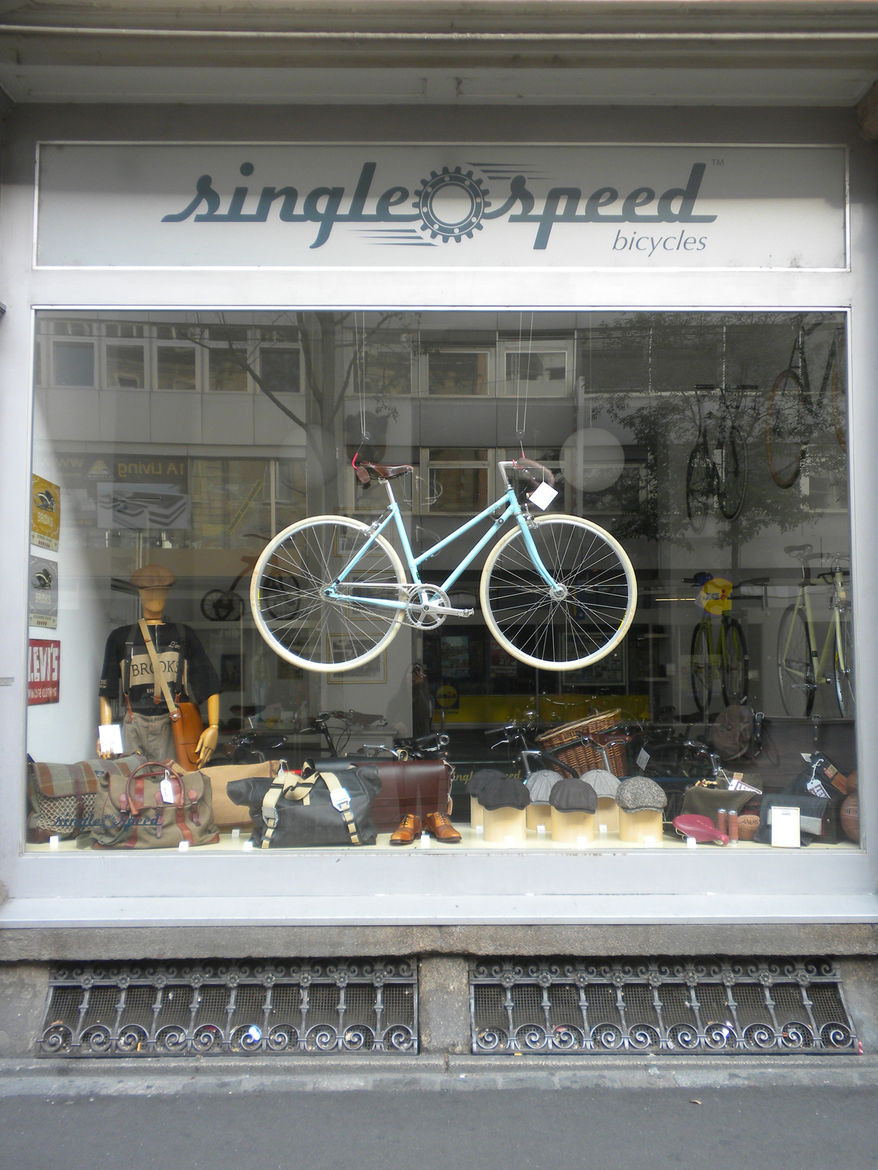 "Upon arrival, I checked into my hotel and the headed toward the Marketplatz public square. I couldn't help but stop and take a picture of the <a href=""http://www.single-speed.ch/"">Single Speed Bicycles</a> storefront, which would fit right in in San Franc"