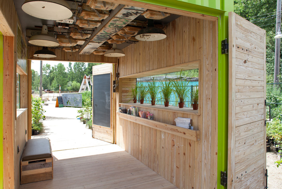 Levitt's goal was to use as many recycled and reclaimed materials as possible. For the shell, she and project architect Katrina Touw sourced a shipping container from a contractor just outside of Toronto, and for the interior cladding, they used partially