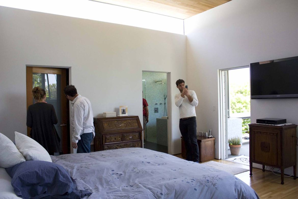 Almost every room fills with light, says the owner. Guests who sleep over are provided with eye masks in case they'd rather not be woken up by the morning sunlight.